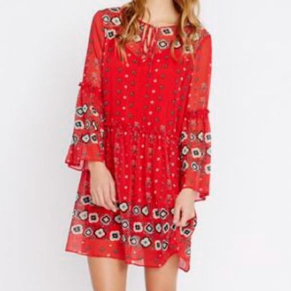 Buffalo David Bitton Dresses & Skirts - Buffalo David Bitton Red Border Folk Floral
